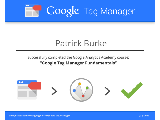 Google Tag Manager Certificate